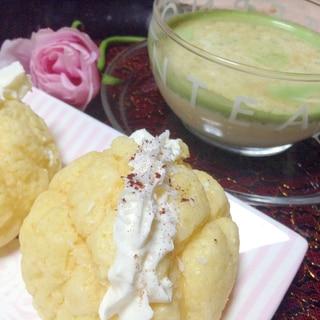 ココナッツホイップメロンパン&シナモン青汁ミルク