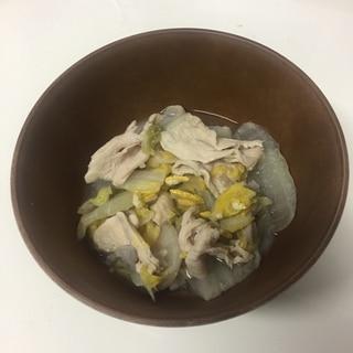 鶏むね肉と舞茸の白菜漬物煮