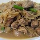 鶏レバーとにんにくの芽の甘辛煮