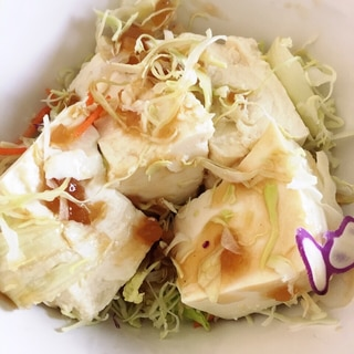 豆腐と千切りキャベツの簡単サラダ♬