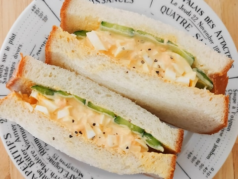 からしマヨで♪卵&きゅうりのサンドイッチ