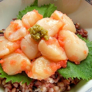 3分ヘルシー❤ほたて貝柱の丼♪(たらこ&柚子胡椒)
