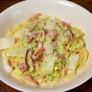 白菜とベーコンの味噌クリームパスタ