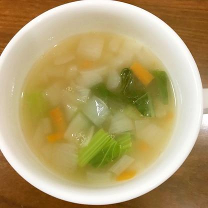 玉ねぎ、人参、ナス、小松菜のコンソメスープ