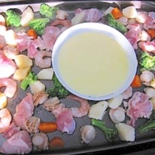 ホットプレートで☆チーズと焦がし醤油のWフォンデュ