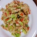見た目挽き肉風卵の野菜炒め