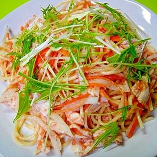 大根と鶏むね肉の明太サラダパスタ