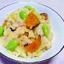 鶏挽肉とかぼちゃの炊き込みご飯
