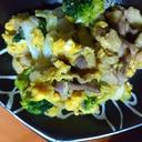 牛肉とキャベツとブロッコリーの卵炒め