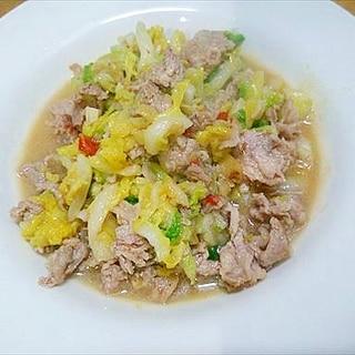 フライパンで白菜豚肉炒め/ピリ辛