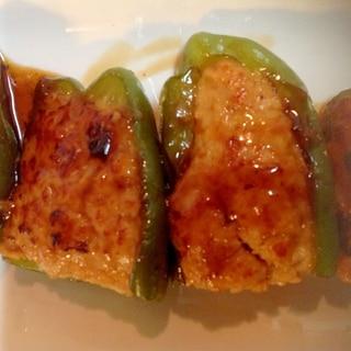 ++照り焼きソースのピーマン肉詰め++