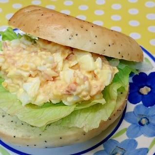 鮭フレーク&卵&レタスのサンド