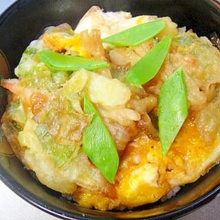 かき揚げの残りで卵とじ丼