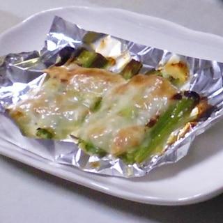 オーブントースターで焼くだけ、ネギチーズ焼き