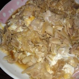 甘辛豚バラ炒め卵とじ