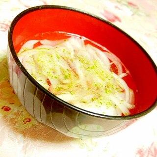 白だしde❤新玉葱と茗荷の青海苔・生姜スープ❤