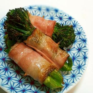 簡単おつまみ☆スティックブロッコリーのベーコン巻き