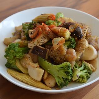 鶏肉と野菜のガーリックペッパー炒め