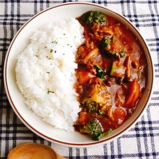 ブロッコリーと完熟トマトのハッシュドポーク