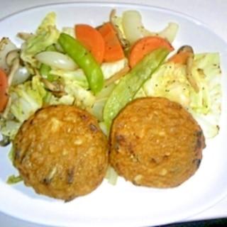 野菜たっぷり炒めと野菜天のステーキ
