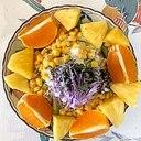 レタス 、ロースハム、オレンジ、パインのサラダ~♪