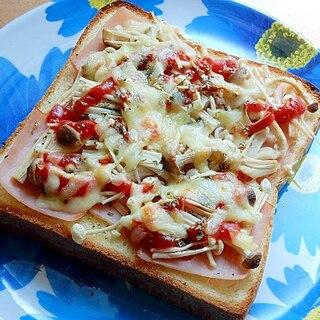 焼く間に片付け!ハムを敷いて❤きのこ2種トースト♪