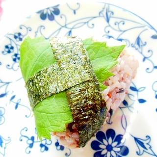 雑穀米de❤めんたい粉と大葉の寿司酢・御握りさん❤