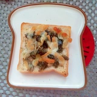 朝食♪海苔じゃこトースト