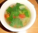 チンゲン菜とミニトマトのコンソメスープ