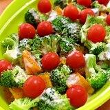 かぼちゃとブロッコリーの温野菜トマト乗せ