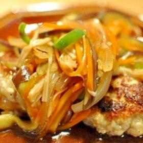 ふわふわ豆腐ハンバーグ♪しょうが風味野菜あんかけ