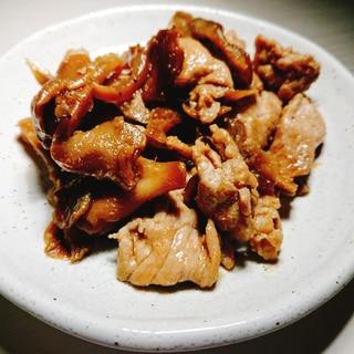 豚肉と舞茸のガリバタ炒め