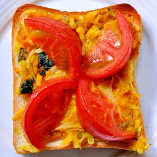 かぼちゃサラダとトマトのトースト