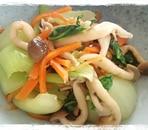 チンゲン菜とにんじんとしめじの生姜ポン酢和え