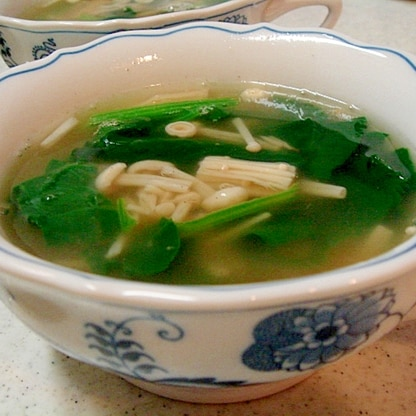 エノキとほうれん草の中華スープ