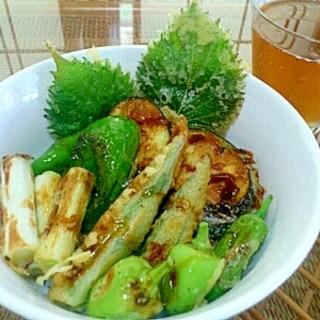 野菜とうなぎのタレで天丼