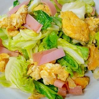 キャベツとハムの卵炒め