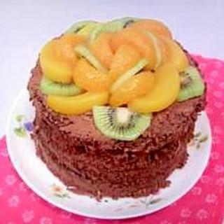 フルーツテンコ盛り!チョコケーキ