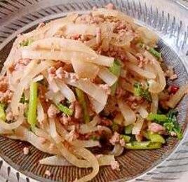 大根と豚ひき肉のピリ辛炒め