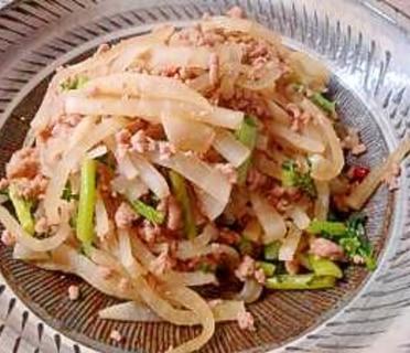 大根と豚挽肉のピリ辛炒め