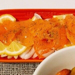 サーモンのシンプルカルパッチョ