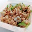 玉葱天と胡瓜としめじのひきわり納豆