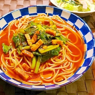 小松菜とベーコンのトマトスープパスタ