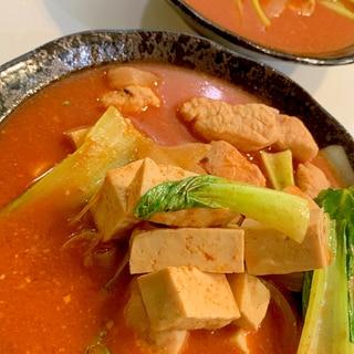 チンゲン菜と鶏肉で コチュジャンのピリ辛スープ