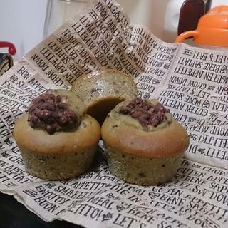 ホットケーキミックスで抹茶小豆蒸しパン