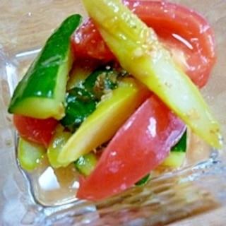 トマト&アスパラ&きゅうりの簡単あっさりマリネ*