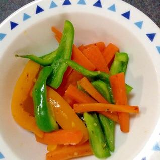 お弁当に☆レンジで簡単美味しいピーマン&人参炒め♪