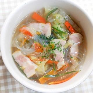 簡単ヘルシー♪野菜たっぷり春雨スープ*^^*