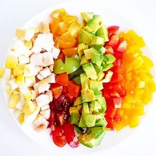 カラフルトマトとパプリカのコブサラダ