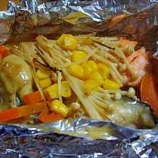 牡蠣と鮭のホイル焼き